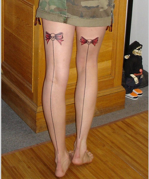 Exciting Thigh Girl Tattoo Photo