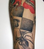 Poker Spider Tattoos on Arm Pictures