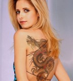 Awesome Look Dragon Shaped Full Back Tattoo for Girls