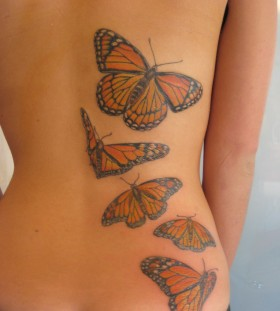 Beautiful Butterfly Shaped Back Tattoo Design for Girls