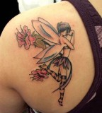 Angel Shaped Tattoo Design on Upper Back for Girls