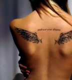 Small Wing Shaped Girls Tattoo Design on Upper Back