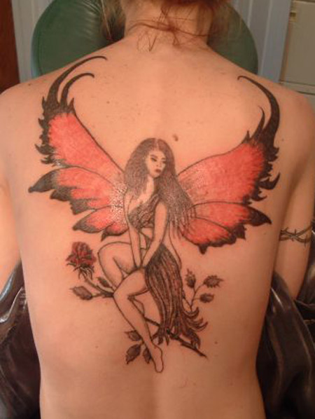 Great Fairy Tattoo Design on Back for Girls