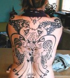 Awesome Full Back Tattoo Design for Girls