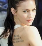 Sweet Megan Foxs Tattoo Design on Right Back