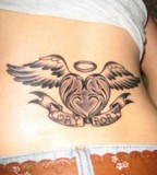 Heart with Wings Shaped Lower Back Tattoo for Girls