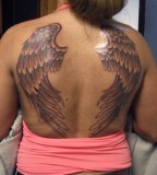 Wonderful Award Winning Wing Shaped Tattoo Design For Girls