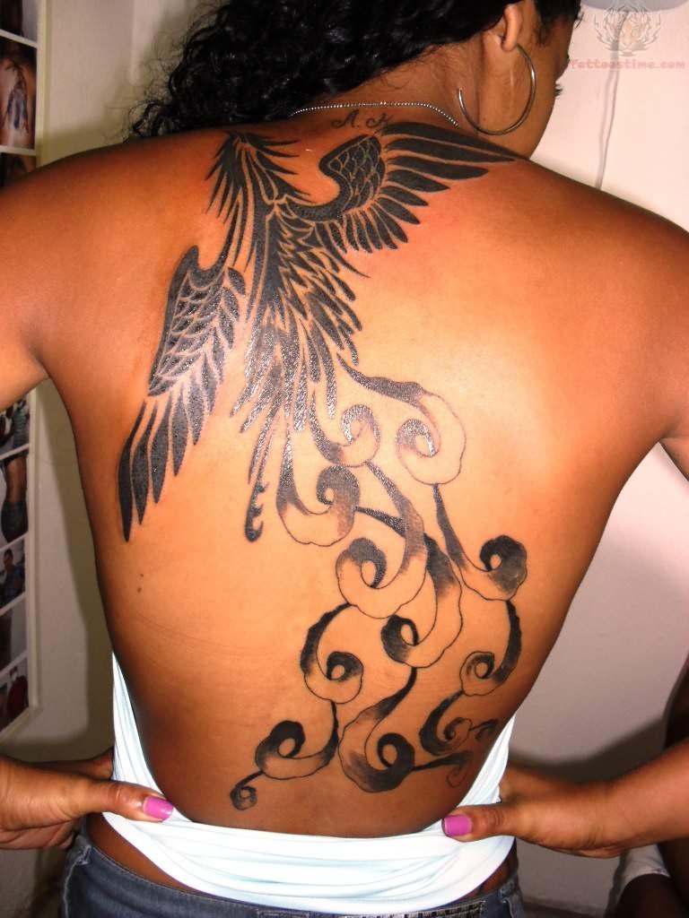Beautiful Phoenix Full Back Tattoo Design For Girls