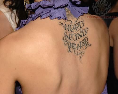 Wonderful Scripture Girls Tattoo Design on Upper Back