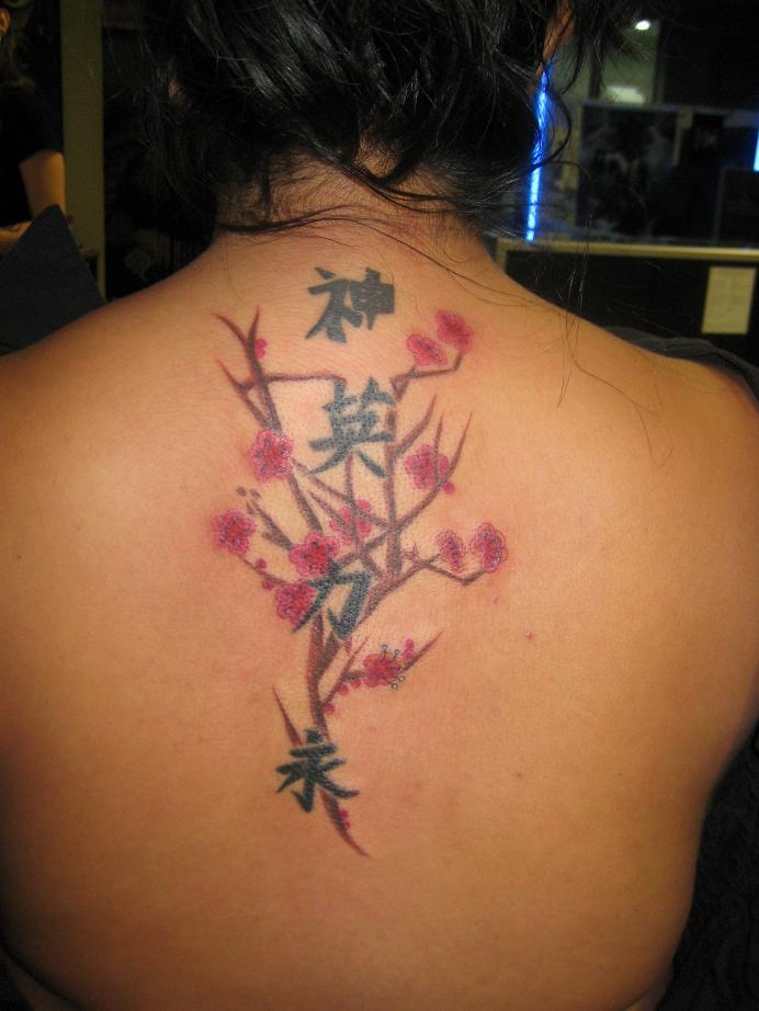 Sexy Cherry Blossom Tree Upper Back Tattoo for Girls
