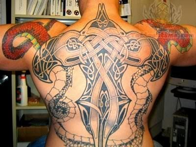 Awesome Back Knot Tattoo For Men