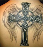 Cross Tattoos With Wings On Back For Man