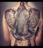 Amazing Elephant Back Piece 3D Tattoo