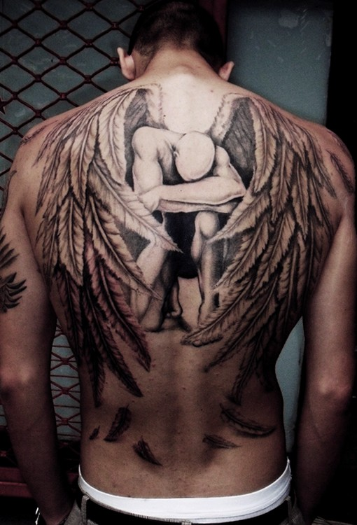 Full Buster Angel Back Tattoo Design For Men