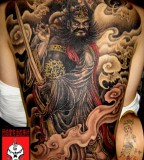 Chinese Commander Tattoo On Back Design