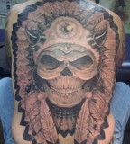 Tribal Skull Tattoos Designs On Back For Men
