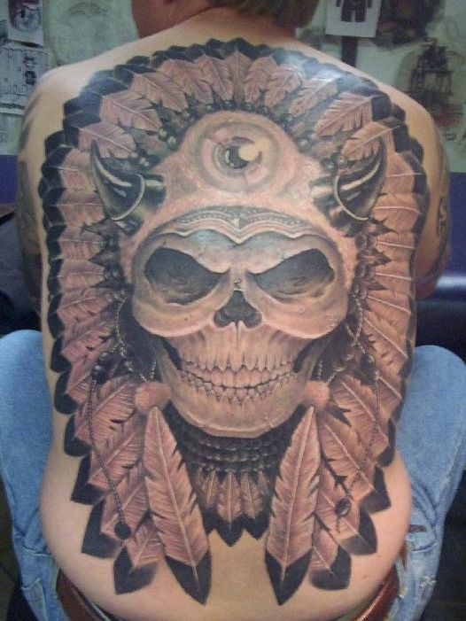 Tribal Skull Tattoos Designs On Back For Men