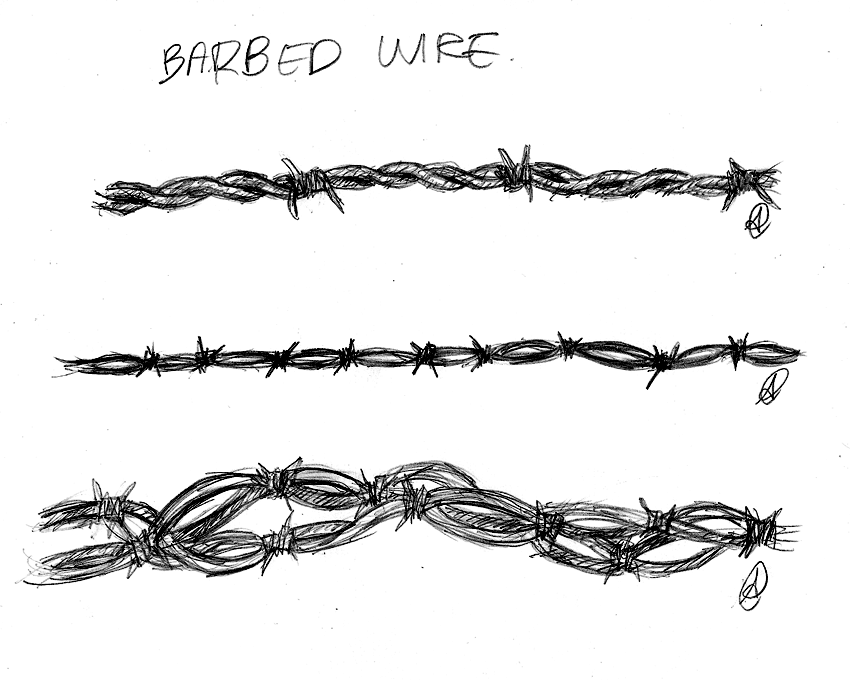 Barbed Wire Sketch Designs for Tattoo