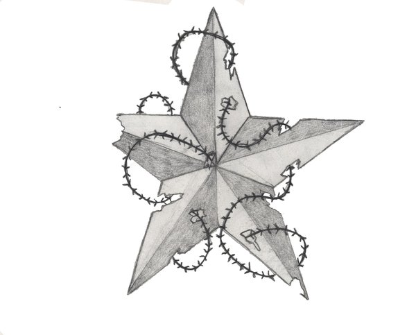 Nautical Star Tattoo With Barbed Wire Tattoo Sketch Design