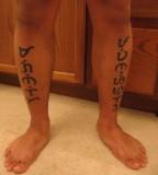 Baybayin Tattoo on Legs For Man