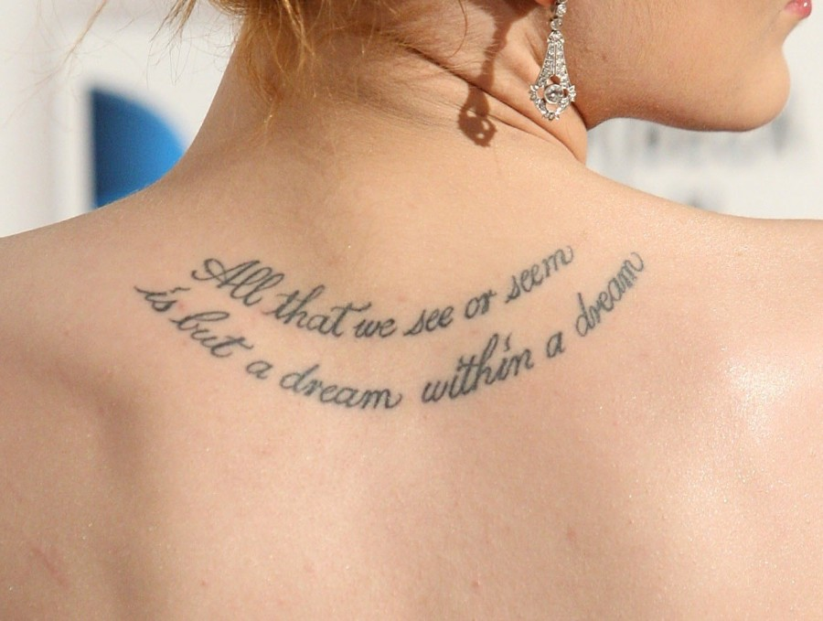 Hot Female Celebrity Tattoos Quotes Images About Dreams