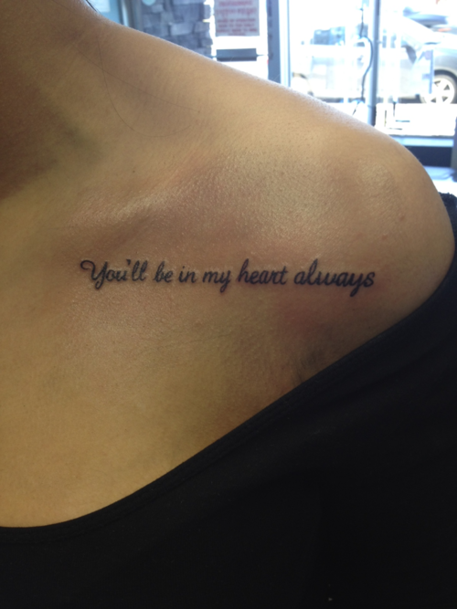 Beauty Tattoo Quote Be in my heart For Girls