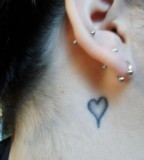 Cool Heart Tattoo Behind The Ear images