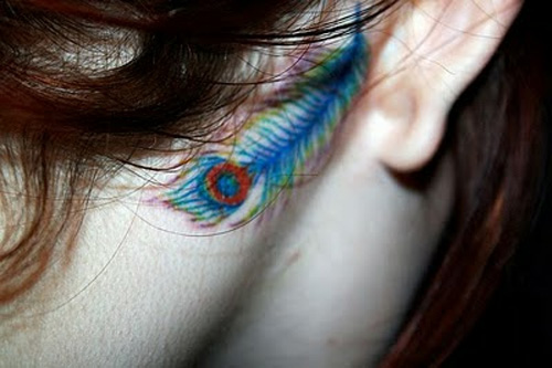 Stunning Feather Behind The Ear Tattoos For Girls
