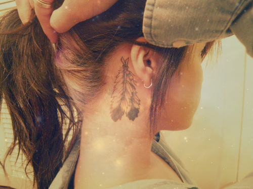 Cool Feather Ear Tattoo For Women