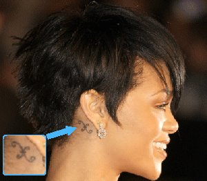 Rihanna Behind the Ear Tattoos