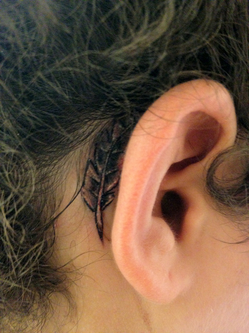Behind the Ear Quill Tattoo For Lady