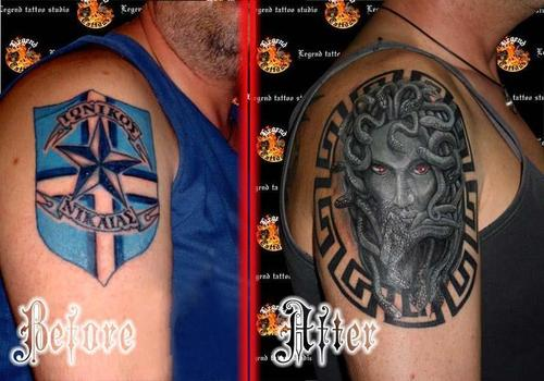 Cover Up Tattoo Football Team Cover With Medusa  Tattoo Picture