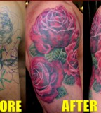 Unique Wildlife Rose Cover Up Tattoos