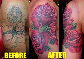 Unique Wildlife Rose Cover Up Tattoos