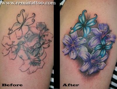 Cover Up Vibrant Flower Before And After