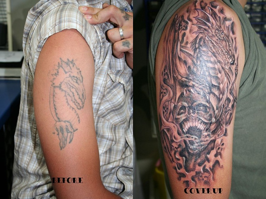 Dragon Skull Cover Up Tattoo Images Gallery