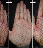Text Palm Tattoo by Matt One Hit Black
