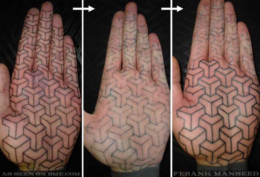 Text Palm Tattoo by Matt One Hit Black