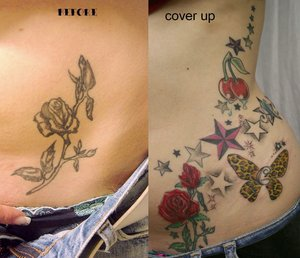 Stars and Flowers Cover Up Tattoo Designs