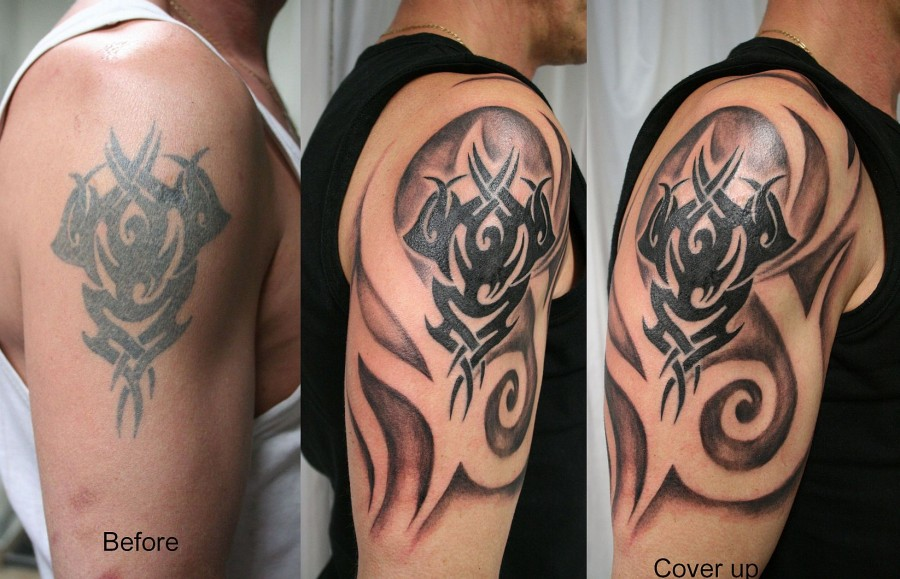 Tribal Art Cover Up Tattoo For Man