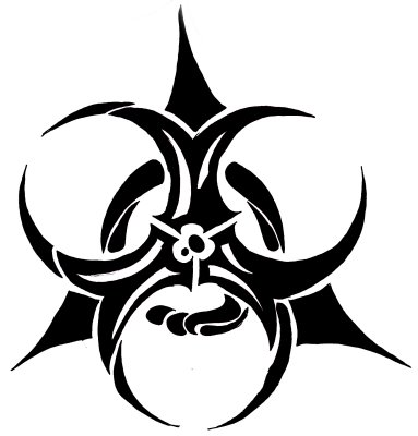 Inspired Excellent Biohazard Tribal Logo Tattoo Picture