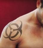 Wonderful Bio-Hazard Arm Tattoo Design Inspiration