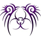 Purple Aesthetic Tribal Biohazard Tattoo Style