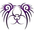 Purple Aesthetic Tribal Biohazard Tattoo Style