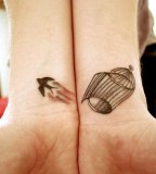 Awesome Couple Bird and Birdcage Tattoos on Both Wrists