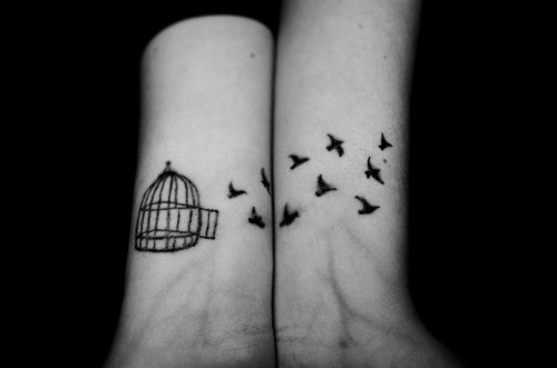 Beautiful Story Caged Birds Tattoos on Both Wrists