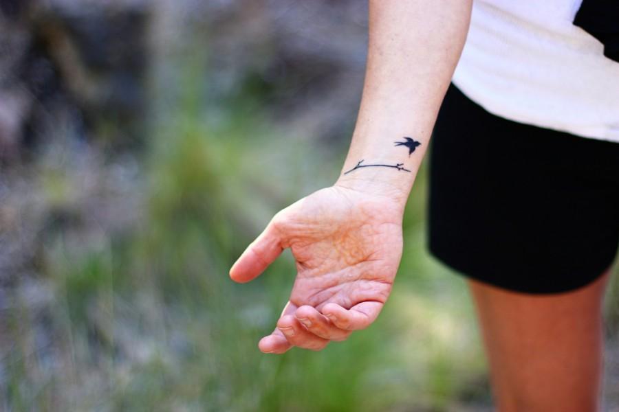 Inked Bird Love Wrist Tattoo