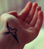 Cool Wrist Flying Bird Swallow Tattoo