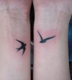 Cute Two Bird Swallow Tattoos on Both Wrists