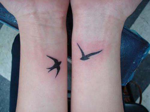 Cute Two Bird Swallow Tattoos on Both Wrists
